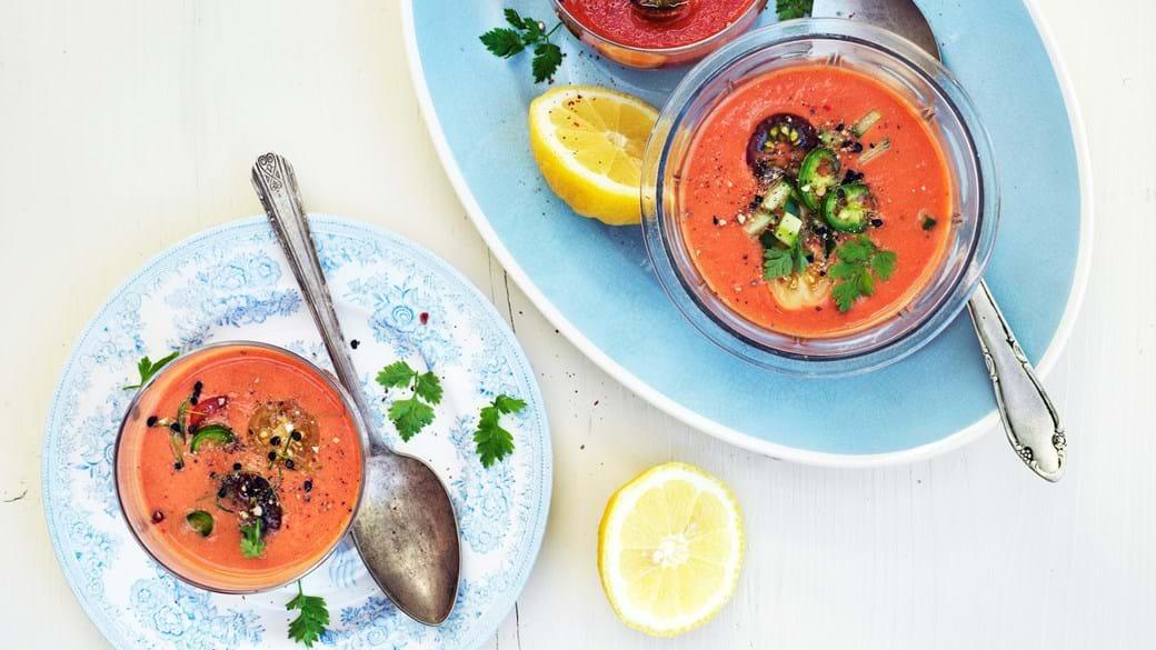 Gazpacho af soltørrede og friske tomater